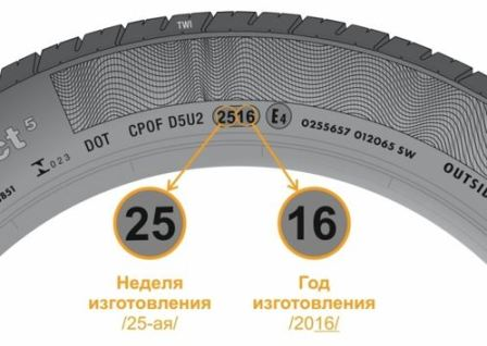 Где указан год выпуска шины